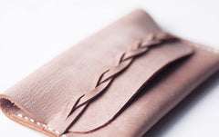 Handmade Women Cute Leather Braided MINIMALIST Card Wallet Card Holder Personalized Monogrammed Gift Custom Women Card Wallet