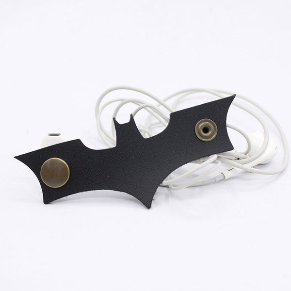 Handmade Leather BatMan Cord Organizer Earbud Case Personalized Monogrammed Gift Custom Wallet Women Cord Taco