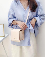 Beige Stylish LEATHER WOMENs Box Handbags Cube SHOULDER BAG Purses FOR WOMEN