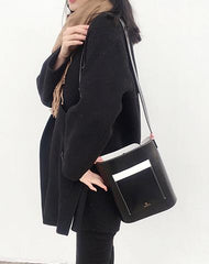Black LEATHER WOMENs Bucket Purse SHOULDER BAG FOR WOMEN