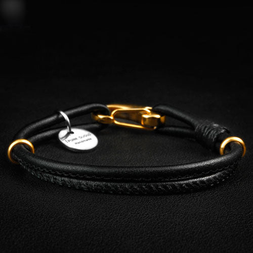 Genuine Leather Layered Knit Bracelets Gift Jewelry Accessories Men Women