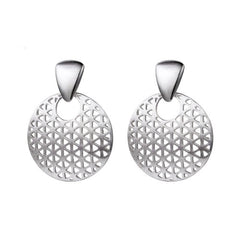 Silver Earrings Geometric Hollow Dangle Drop Gift Jewelry Accessories Women