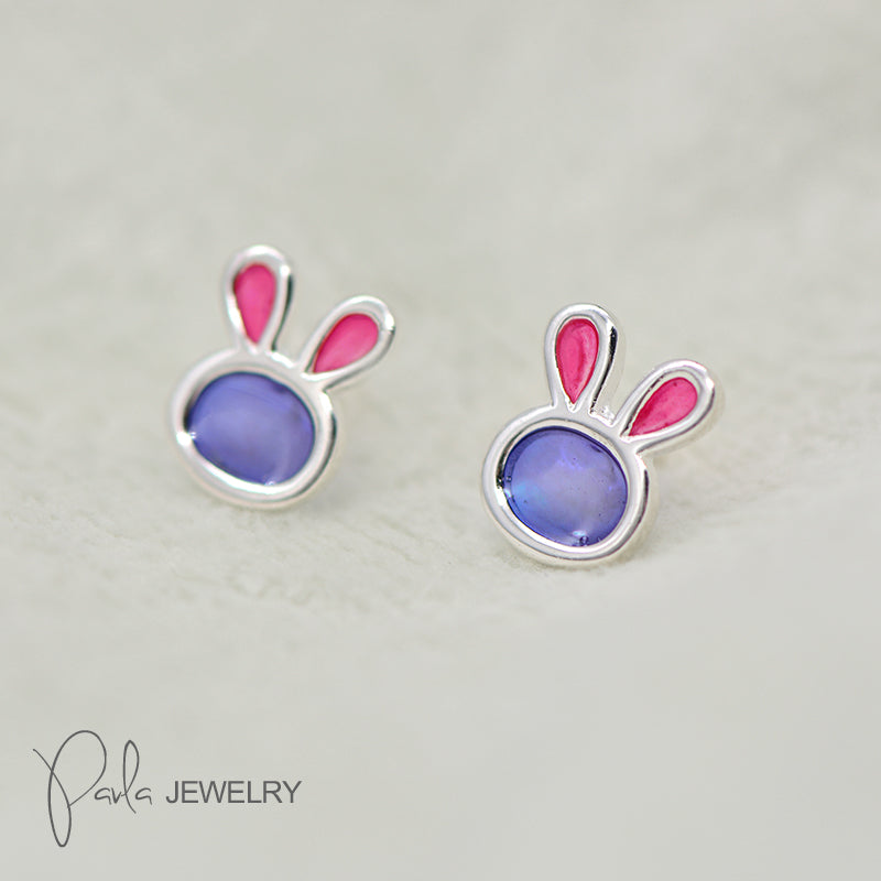 Silver Earrings Bunny Rabbit Stud Earring Cute Christmas Gift Jewelry Accessories Women