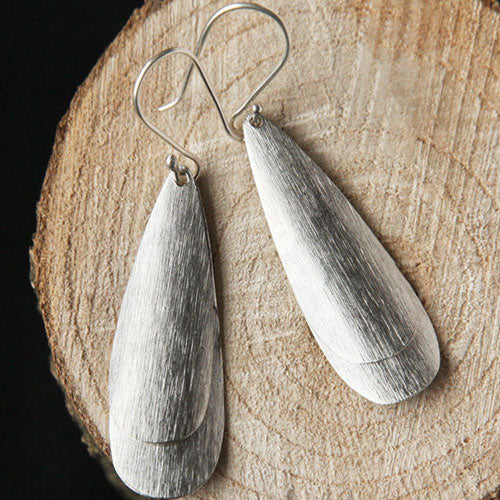 Silver Earrings Slice Oval Geometric Minimal Long Dangle Drop Gift Jewelry Accessories Women