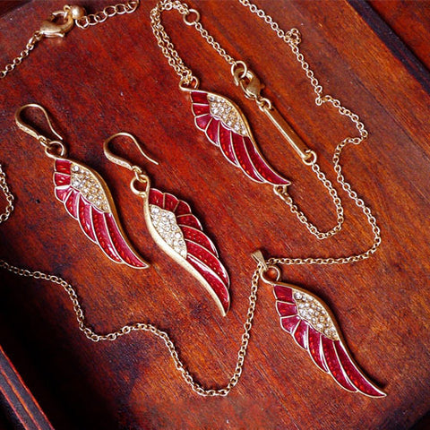 Vintage Necklace Wings Angel Rhinestone Long Pendant Charm Gift Jewelry Accessories Women