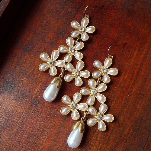 Vintage Earrings Olivet Pearl Flower Bridal Drop Dangle Gift Jewelry Accessories Women