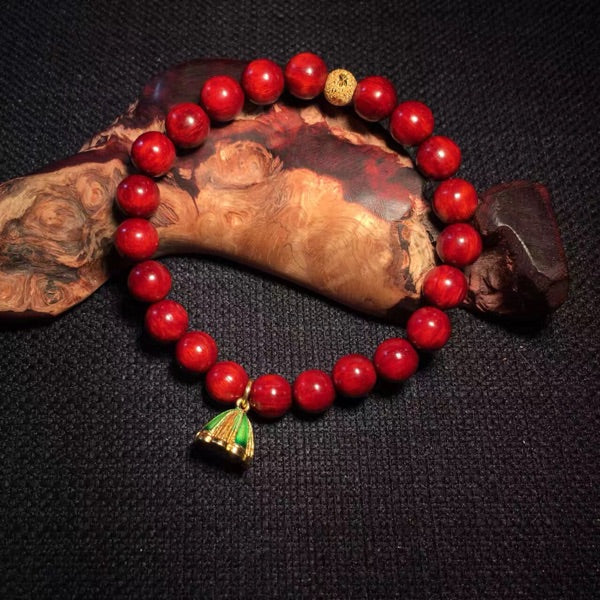 Wooden Beaded Bracelet Red Sandalwood Rosewood Lotus Gift Jewelry Accessories Women
