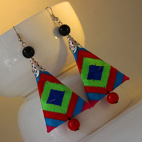 Handmade Ethnic Earrings Boho Embroidery Geometric Triangle Long Dangle Drop Gift Jewelry Accessories Women