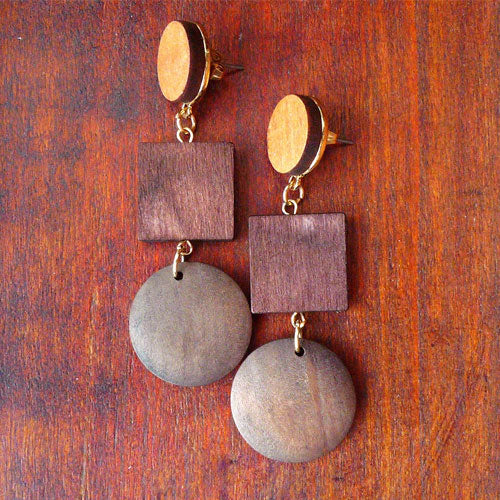 Wooden Earrings Round Square Slice Geometric Long Drop Dangle Gift Jewelry Accessories Women