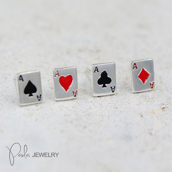 Silver Earrings Poker Stud Earring Cute Christmas Gift Jewelry Accessories Women