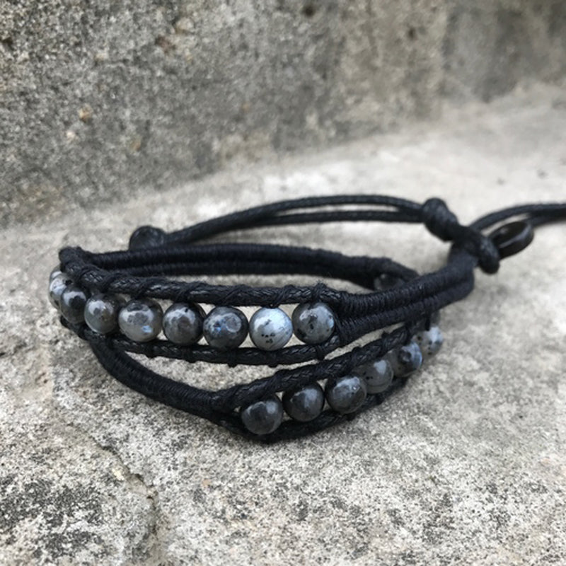 Beaded Bracelets Layered Labradorite Spectrolite Weaved Gift Jewelry Accessories Unisex Men Women
