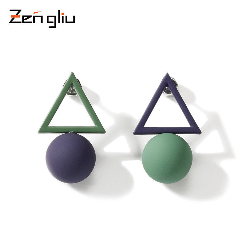 Earrings Minimal Geometirc Triangle Ball Studs Gift Jewelry Accessories Women Men Unisex