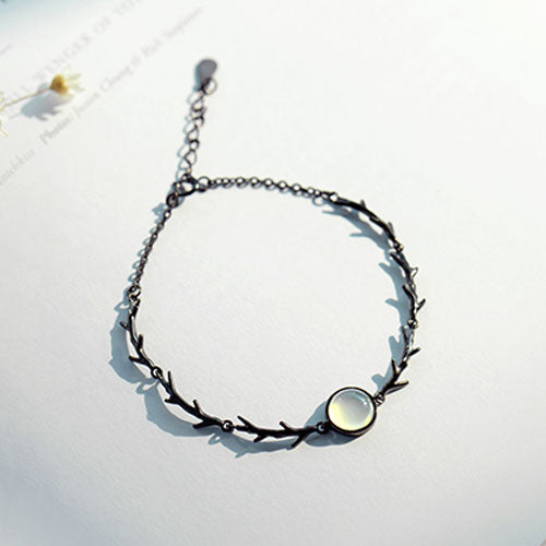 Silver Bracelet Bangles Charm Bracelets Thorns Branch Gemstone Bead Chain Bracelets Gift Jewelry Accessories Women