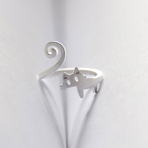 Silver Ring Cat Kitty Statement Ring Adjustable Ring Wrap Gift Jewelry Accessories Women