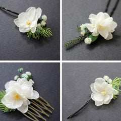 Real Preserved Pear Flower Hair Clip Hairpin Bridal Floral Cute Gift Hair Jewelry Accessories For Girls