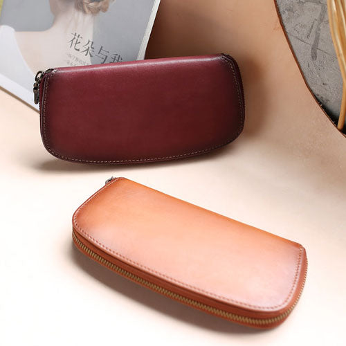 Genuine Leather Clutch Handmade Long Wallet Purse Women
