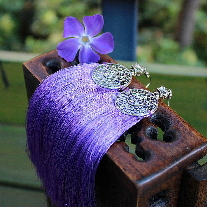 Ethnic Earrings Tassel Handmade Vintage Round Dangle Long Drop Gift Jewelry Accessories Women