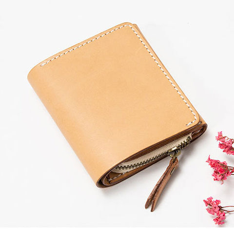Genuine leather Zipper vintage women wallet short cute purse wallet