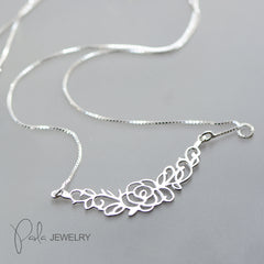 Necklace Silver Floral Carved Charm Choker Necklace Gift Jewelry Accessories Women