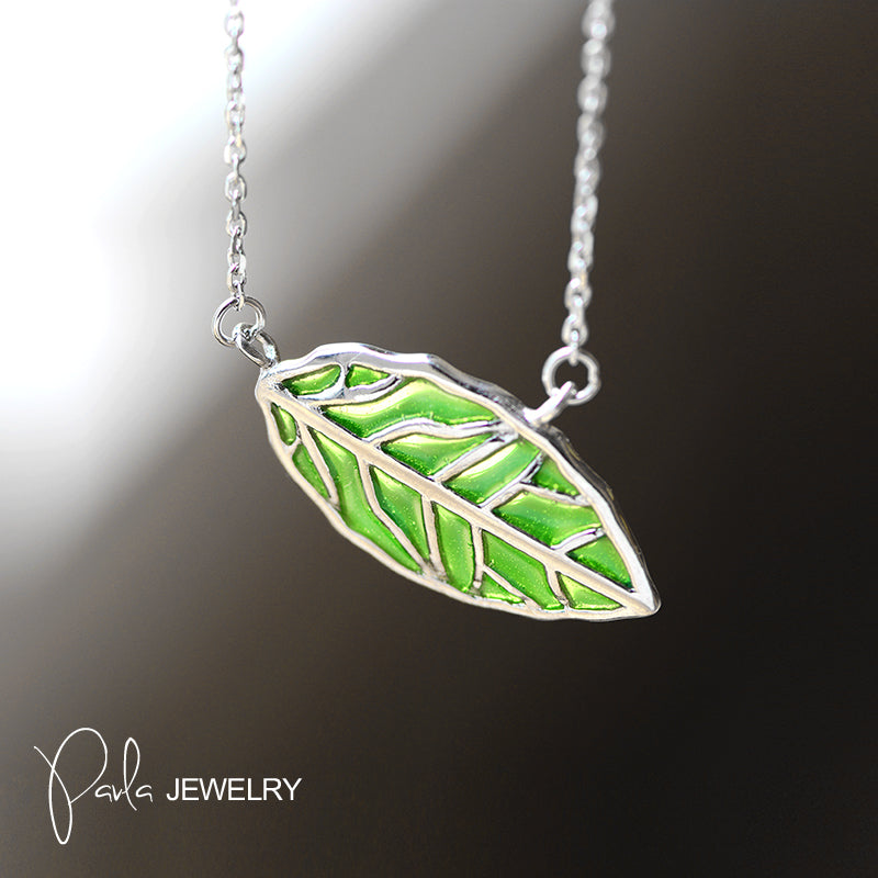 Necklace silver green glaze leaf pendant chokers necklace gift necklace silver green glaze leaf pendant chokers necklace gift jewelry accessories women aloadofball Image collections
