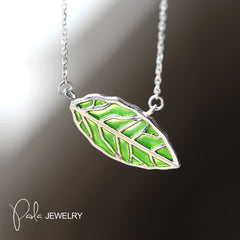Necklace Silver Green Glaze Leaf Pendant Chokers Necklace Gift Jewelry Accessories Women