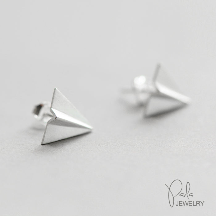 84303cf9734 Silver Earrings Origami Fly Plane Stud Earring Cute Christmas Gift ...