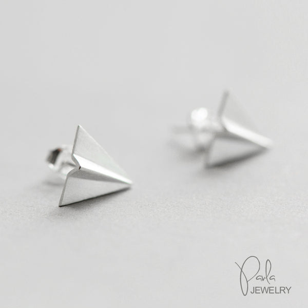 Silver Earrings Origami Fly Plane Stud Earring Cute Christmas Gift Jewelry Accessories Women