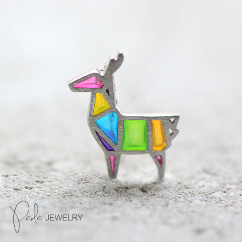 Sliver Necklace Colorful Reindeer Glaze Charm Pendant Gift Jewelry Cute Accessories Women