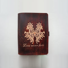 Handmade Leather Notebook Journal Tooled Butterfly A5 Loose-Leaf Travel Book Personalized Monogrammed Gift Custom Women Cute Journal