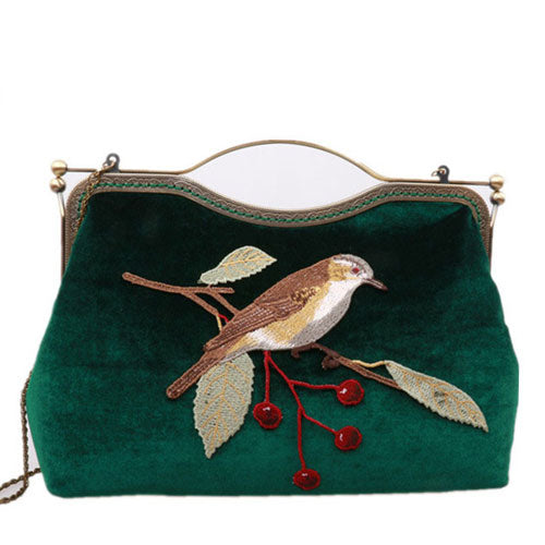 cd297fc94abe Women Clutch Vintage Velvet Embroidery Bird Kisslock Metal Frame Party  Evening Handbag Women Wallet