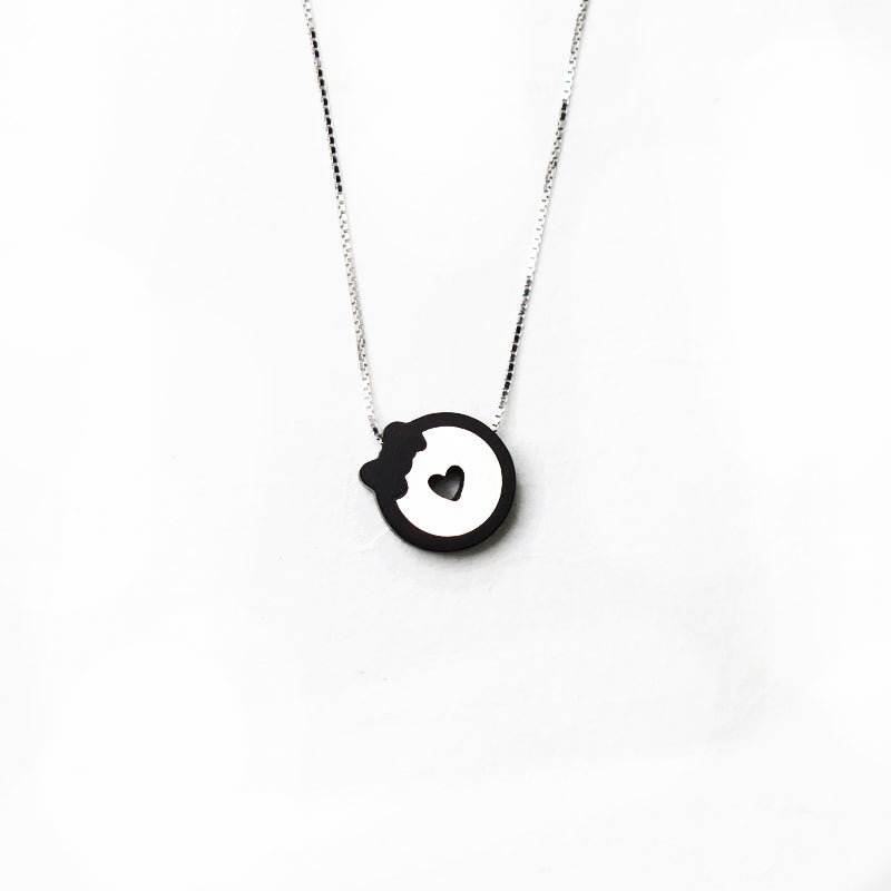 Wooden Necklace Silver Ebony Heart Bowknot Charm Pendant Gift Jewelry Accessories Women