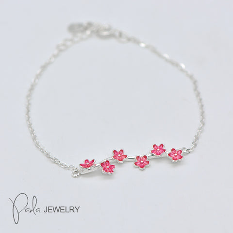 Silver Bracelets Branch Cute Sakura Flower Chain Gift Jewelry Accessories Women