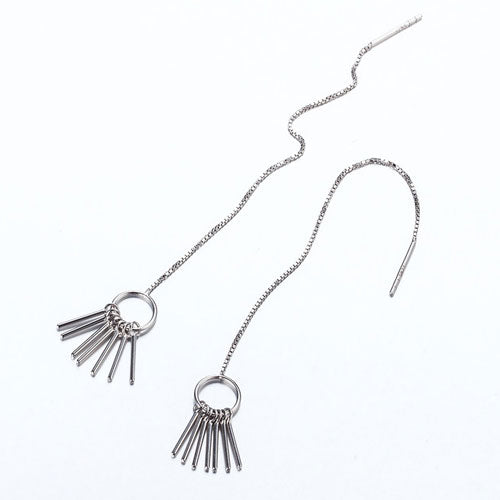 Silver Earrings Waterfall Tassel Long Dangle Hoop Drop Gift Jewelry Accessories Women