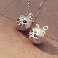 Handmade Silver Necklace Cat Kitty Pet Unique Cute Bracelet Necklace Pendant Christmas Gift Jewelry Accessories Women