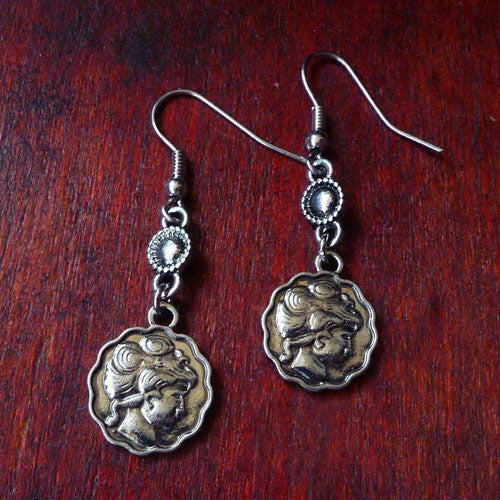 Vintage Earrings West Coin Round Stud Dangle Gift Jewelry Accessories Women