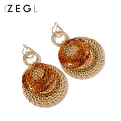 Earrings Hoop Round Woven Grass Big Long Dangle Drop Gift Jewelry Accessories Women