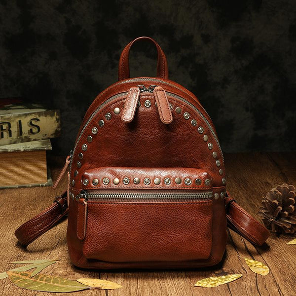 "10"" Small Leather Backpack Womens Female Backpack Bag Purse"