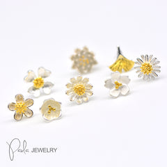 Silver Gold Plating Tiny Dainty Studs Earrings Sakura Daisy Flowers Gift Jewelry Accessories Women