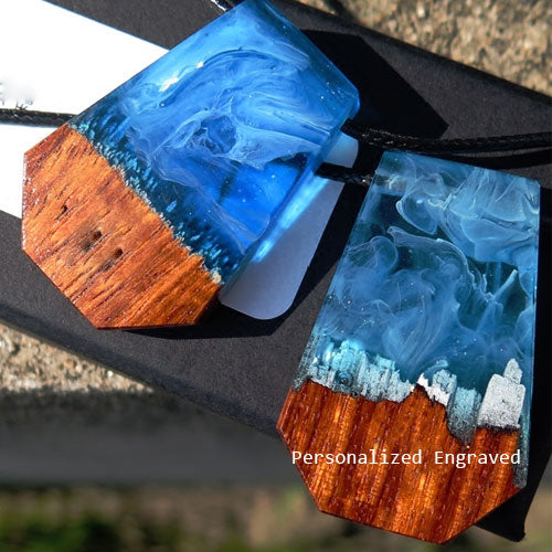 Personalized Engraved Wooden Necklace Wood Resin Handmade Geometric Charm Pendant Gift Jewelry Accessories Women