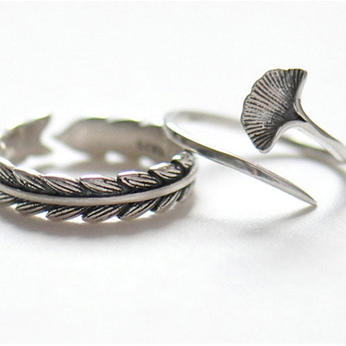 Silver Ring Branch Leaves Gingko Statement Ring Adjustable Ring Wrap Gift Jewelry Accessories Women
