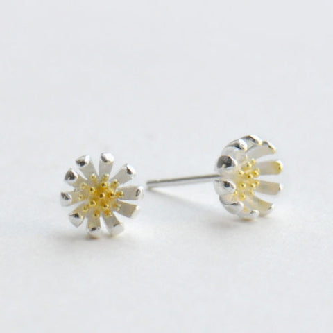 Silver Earrings Daisy Floral Studs Gift Jewelry Accessories Christmas Gift For Women