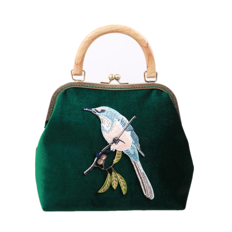 c78f3147f21f Women Clutch Vintage Wooden Velvet Embroidery Bird Kisslock Party ...