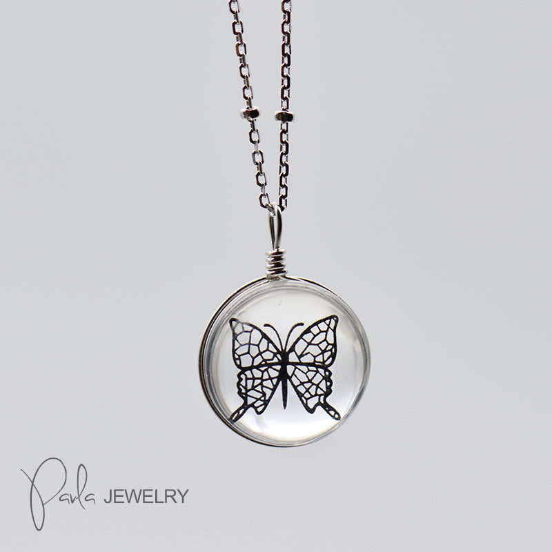 Silver Necklace Crystal Glass Lampwork Butterfly Cucoloris Perspective Pendant Gift Jewelry Accessories Women