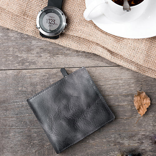 Handmade leather vintage men PERSONALIZED MONOGRAMMED GIFT CUSTOM short wallet clutch coin purse wallet