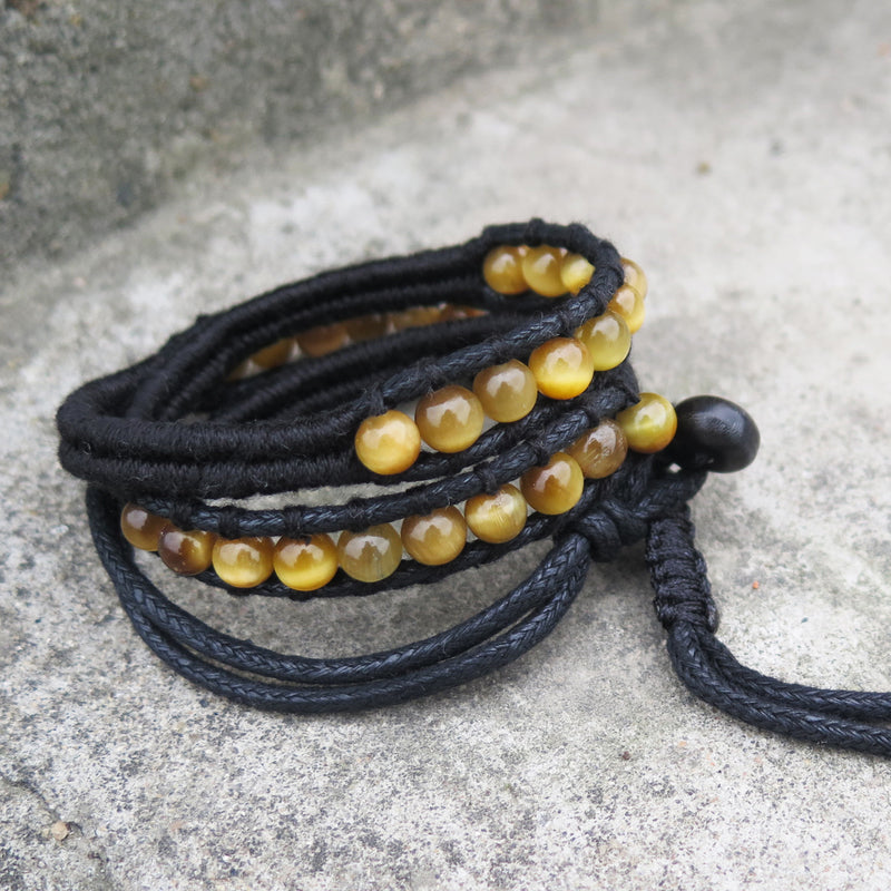 Beaded Bracelets Layered Tiger's-eye Gemstone Handmade Weaved Gift Jewelry Accessories Unisex Men Women