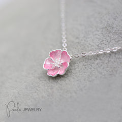 Necklace Silver Floral Sakura Charm Pendant Choker Necklace Christmas Gift Jewelry Accessories Women