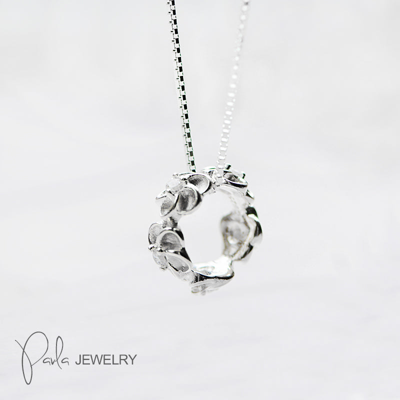 Necklace Silver Gardenia Jasmine Branches Garland Ring Crown Charm Gift Jewelry Accessories Women