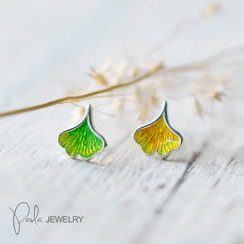 Silver Earrings Gingko Leaf Stud Christmas Gift Jewelry Accessories Women