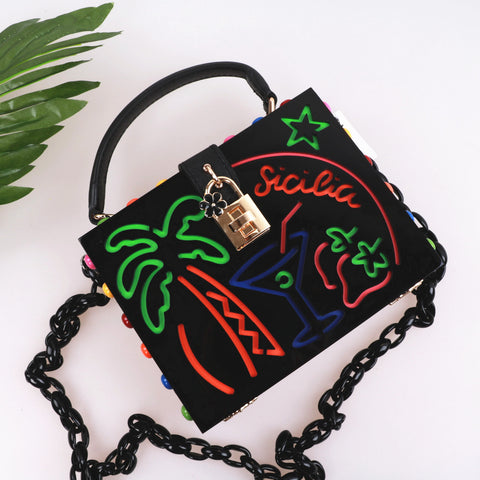 Acrylic Handbag Summer Vacation Tropical Hollow Folded Women Party Chain Box Wallet Clutch Phone Wallet