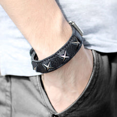Genuine Leather Bracelets Cross Punk Gift Jewelry Accessories Unisex Men Women